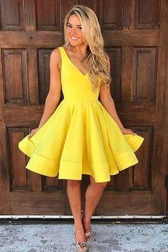 Yellow Prom Dresses #YellowPromDresses, Prom Dresses A-Line #PromDressesA-Line, Short Prom Dresses #ShortPromDresses