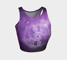 The sacred eye is a universal energy that looks over us and provides balance and harmony in our lives. A perfect crop top for your yoga or dance practice. Festival Outfits, Festival Fashion, Athletic Crop Top, Dance Routines, Yoga Capris, Yoga Session, Stretch Fabric, Hand Sewing, Activewear
