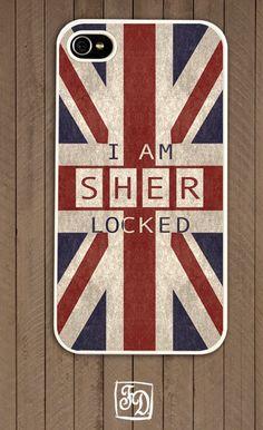 Iphone 4 / 4s hard or rubber case SHERLOCK Holmes , SHERlocked , Union Jack. $15.00, via Etsy.