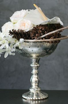 15.00 SALE PRICE! The Mercury Glass Desiray Compote has a worn silver coat, allowing light to seep through in patterned speckles. With its mirrored finish an...