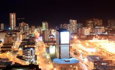 Durban City Center at night, full of power and electricity! South America, Africa, Night, City, Pictures, Photos, Cities, Grimm