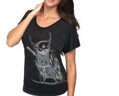Zentangle Ninja Owl TriBlend Dolman woman T shirts by namu on Etsy, $32.00 [@ Sakura-con, April 2014] ★★★★☆