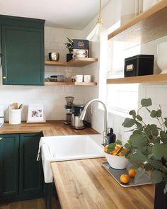 Natural Home Decor - Design della cucina Kitchen Ikea, Home Decor Kitchen, New Kitchen, Home Kitchens, Kitchen Counters, Earthy Kitchen, Small Kitchens, Kitchen Islands, Kitchen Furniture