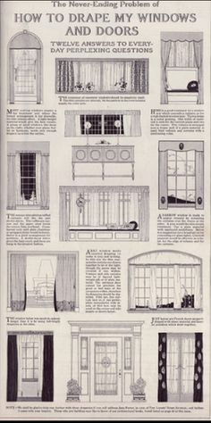 """The Never Ending Problem of How to Drape my Windows and Doors"". Source: 1918 Delineator From the Antique Home Style collection."
