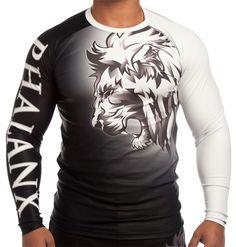 Phalanx Lionheart Rash Guard. IBJJF Approved. http://www.phalanxfc.com/collections/rash-guards/products/phalanx-ibjjf-ranked-rash-guard-lion-white-belt