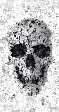 Doodle Skull, Square Canvas Art by Ali Gulec Graffiti Wallpaper, Skull Wallpaper, Cool Wallpaper, Wallpaper Backgrounds, Iphone Wallpaper, Wallpaper Doodle, Black Wallpaper, Dope Wallpapers, Wallpapers Android