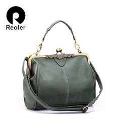 REALER brand new retro women messenger bags small shoulder bag high quality PU leather tote bag small clutch handbags