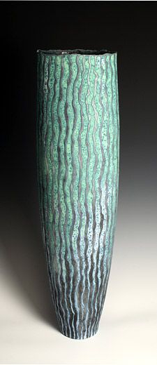 Ceramics by Peter Beard at Studiopottery.co.uk - 2011. Tall Blue Vessel, number 2, 90cm high.