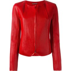 Giorgio Armani Fitted Textured Leather Jacket (10.560 RON) ❤ liked on Polyvore featuring outerwear, jackets, red, giorgio armani, red jacket, giorgio armani jacket and fitted jacket