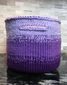Knitting Pattern for Gradient Utility Basket