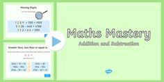 Maths Mastery Activities Year 4 Addition and Subtraction PowerPoint Ks2 Maths, Numeracy, Math Problem Solving, Math Problems, Classroom Displays, Math Skills, Addition And Subtraction, Hands On Activities, Math Resources