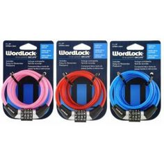 "4Dial Bike Lock Asstd  WORDLOCK INC"" BIKE LOCK............. Hey, ""bike"" is only one of our favorite four letter words, but the fun doesn't stop there. You can set your bike combination to all kinds of words. Easy to read, easy to set, but hard to forget................. Sometimes, a small cable lock does the trick. With this Wordlock, you don't have to fuss with picking a password. The mini-cable lock comes ready to go with a preset four-letter word already on the dials."