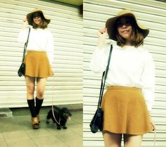 Rose Bud Hat, Blouse, American Apparel Corduroy Circle Skirt, Apart By Lowrys Socks, Jeffrey Campbell Wedged Clogs