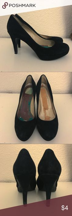 """Black Suede Pumps Marc Fisher """"Sydney"""" pump. Purchased from another posher a few years ago with the sole cushions already detached and super worn out. Wore them just once to a funeral for a few hours. Tons of life left in these and the insoles can easily be replaced. Selling as is! Marc Fisher Shoes Heels"""