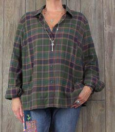 Lauren Ralph Lauren Flannel Blouse 2x size Green Brown Plaid Womens Soft Shirt