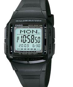 4b33ebdc5c33 Casio 30-Page Databank Watch 5 Alarms Chronograph Black Resin DB36-1AV Casio  Vintage