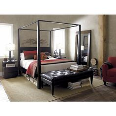 Finally a grown up bed - arrives tomorrow!!!  Pavillion Black Canopy  Bed  | Crate and Barrel