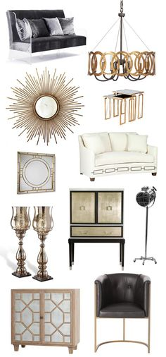 Hollywood Regency Style Get the Look Glamour decor Get the