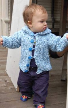 Puffin Baby - Toddler Hoodie Pattern - Crystal Palace Yarns - free knit Baby pattern