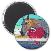 horse Valentine Heart red Fridge Magnets