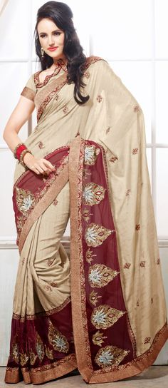 Ravishing Beige Brown and Maroon Net Embroidered Saree-IG5879 at IndianGarb