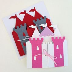 * Handmade in Australia * Set the scene for your little boys prince or knight party with these invitation folders in red and gray. My original design, they are made from a red background cut from smooth cardstock, with tower details made from textured cardstock in dark gray, embossed