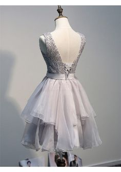 Elegant Scoop A-line Ruffles Lace Appliques Grey Short Homecoming Dresses Party Gowns (ED0988)