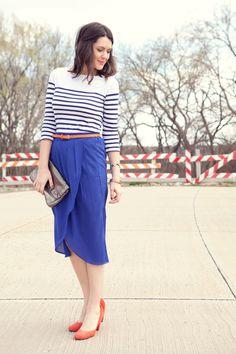 stripes + blue skirt