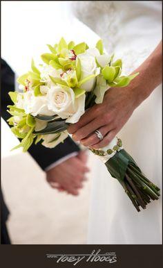 White roses and green cymbidium orchids - Flowers by Heidi, Four Seasons Resort Hualalai Weddings