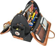 Is Occidental Leather's Dr. Wood tool case the ultimate tool bag? It's certainly the most pocketed and most expensive we've ever seen. Best Tool Bag, Occidental Leather, Mens Toys, Man Purse, Leather Workshop, Wood Tools, Bag Organization, Leather Tooling, Backpack Bags