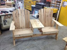 Double Adirondack Bench with Table