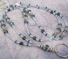 Blue Crystal and Czech Glass Beaded Lanyard, ID Badge Holder, ID Necklace, Badge Clip Necklace. $26.00, via Etsy.