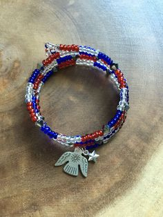 Red White Blue Bracelet Colorful Wrap by TheRedLotusDesigns