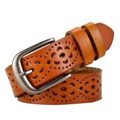 Wide Genuine Leather Belt Women Without Drilling Jeans Belts Straps Hollow Ceinture Femme Color Black Belt Length Leather Belts, Cowhide Leather, Real Leather, Great Gifts For Wife, Piel Natural, Cow Skin, Fashion Belts, Fashion Women, Fashion Ideas