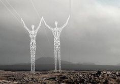 Ilustração torre de energia dupla