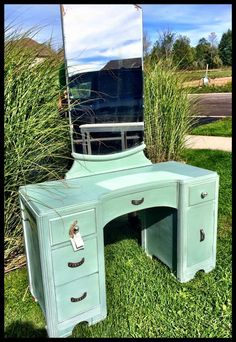 Duck egg blue hand painted vanity with mirror. Slightly distressed with pretty drawer hard ware.
