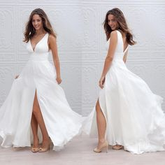 Find More Wedding Dresses Information about Beach Wedding Dresses Modern Floor Length A Line V Neck Thigh High Slits 2017 Chiffon Simple Custom Plus Size Boho Bridal Gown,High Quality Wedding Dresses from Suzhou Wedding Love Store on Aliexpress.com