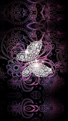 . Bling Wallpaper, Cute Wallpaper For Phone, Cute Wallpaper Backgrounds, Cellphone Wallpaper, Cute Wallpapers, Iphone Wallpaper, Heart Wallpaper, Blue Butterfly Wallpaper, Butterfly Wall Art