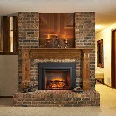 #WoodFlooringSale Cabin Fireplace, Brick Fireplace Makeover, Fireplace Shelves, Fireplace Inserts, Modern Fireplace, Fireplace Surrounds, Fireplace Design, Fireplace Ideas, Fireplace Decorations