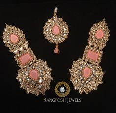 Bracelet Models - Grand Mahnoor Earrings and tikka - rich photos Indian Bridal Jewelry Sets, Indian Jewelry Earrings, Fancy Jewellery, Hand Jewelry, Fashion Earrings, Fashion Jewelry, Antique Jewellery, Silver Jewellery, Wedding Jewelry