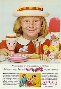 Avon advertisement 1970's. Calcium powder, lip gloss,