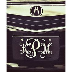 Classy Black and White Front License Plate, Personalized Monogrammed Car Tag Car…