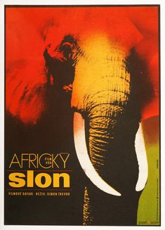 Captivating movie poster designed for famous Bafta nominated documentary The African Elephant, #posterdesign Karel Vaca, 1973. #movieposter #graphicdesign #vintageposter #postershop