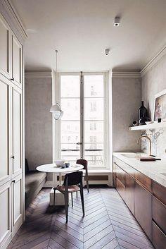 Kickass Alternatives to Traditional Upper Kitchen Cabinets;That herringbone floor is ta die! Parisian Apartment, Paris Apartments, Apartment Kitchen, French Apartment, Apartment Ideas, Apartment Design, Paris Apartment Interiors, Apartment Couch, Parisian Bedroom