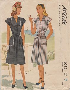 McCall 6515 / Vintage year 1946 Sewing Pattern / Dress / Size 18 Bust 36