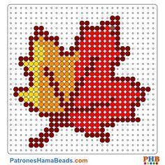 Hoja seca-Otoño plantilla hama bead. Descarga una amplia gama de patrones en formato PDF en www.patroneshamabeads.com