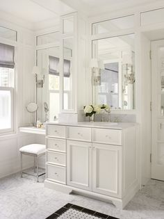 Adorable traditional bathroom with makeup vanity table set with mirror design- also love these Mirrors Diy Bathroom Remodel, Bathroom Renos, Bath Remodel, Bathroom Ideas, Budget Bathroom, Basement Bathroom, Bathroom With Makeup Vanity, Vanity Sink, Bathroom Vanities