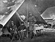 Maj. Myers, Lieuts. Stryker, and Norton, Harrison's Landing, Virginia,  August 1862. (10th Pa. Reserves); photo taken by Alexander Gardner in August 1862. Library of Congress Civil War glass negative collection.