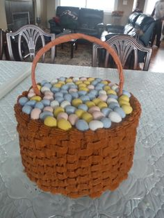 A chocolate cake with peanut butter butter cream icing done in a basket weave design for Easter dinner.