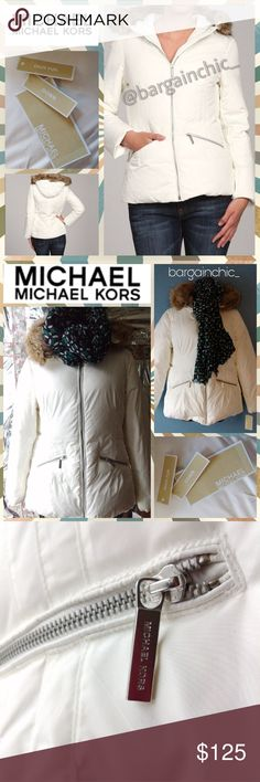 🆕MICHAEL Michael Kors Faux Fur Jacket NWT! Lightweight and nearly custom fit with princess seaming that contours your frame. Ski, hike or roam the streets in sporty style and warmth. Zip out faux fur trim. Bought new from a fellow Posher but it is too small. Should fit 10/12. FIRM. Zippered pockets. Silver tone hardware. 100% polyester. Fully lined. MACHINE WASHABLE. Smoke/pet-free home. 💞Thanks for browsing my closet!💞 MICHAEL Michael Kors Jackets & Coats Puffers